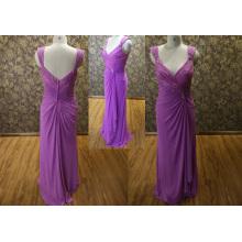 V-образным вырезом открытой спиной кружева вечернее платье 2014 мать невесты платье фиолетовый цвет шифон вечернее платье до 14092