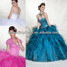 HQ2047 Very fashion hot pink sparkly beaded crystal sweetheart asymmetrical hem layers tulle glitter tulle quinceanera dress