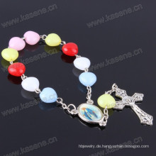 Günstige New Heart-Beads Kunststoff Handgefertigte Rosenkranz Armbänder