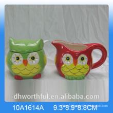 Owl series ceramic sugar pot and milk jug