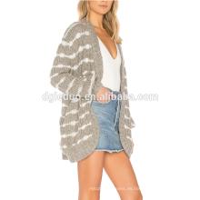Otoño personalizado últimas mujeres tejidas chaqueta de punto de moda suéter de la rebeca