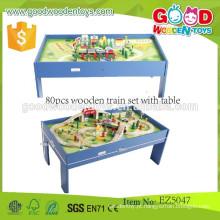 2015 De qualidade superior Hotsale Kids 80pcs conjunto de trem de madeira com mesa, rastrear tpys
