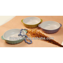 KC-04004china manufacture exported ceramic bowl with two handle,kids bowl