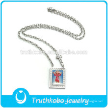 TKB-JN0092 Religious metal decorated with christ child and cross rectangle shape silver pendant Stainless Steel nacklace