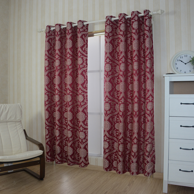 2015 Top Sell Polyester Jacquard Curtain Fabric GF030 Red