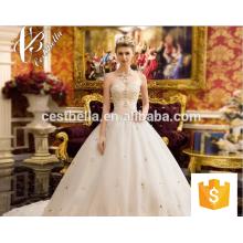 Sexy Lace Crystal Pearl Beading Custom Made Long Vestidos de noiva formal Vestidos De Noiva Latest Wedding Gown Designs 2017