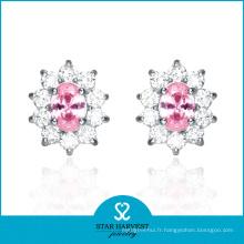 Boucles d'oreilles 2016 Lady Pink CZ en stock (E-0034)