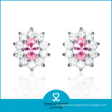 2016 Lady Pink CZ Earrings in Stock (E-0034)