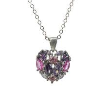 Pingente em Prata 925 com Coração em Pedra Multicolor