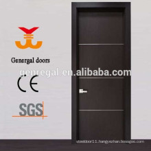 Interior wooden door with aluminum strips
