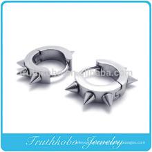TKB-E0004 Silver Bling Mens Surgical Stainless Steel Hoop Rivet Stud Earring