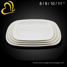 atacado louças de mesa de melamina hotel de cerâmica branca usado pratos de jantar