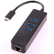 3 Ports USB3.1 Type C to USB3.0 Hub with Gigabit Ethernet