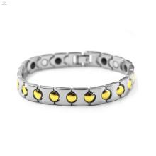 Meilleure vente hommes or argent en acier inoxydable bracelet magnétique bijoux