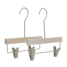 Wholesale Washed white Kids wooden pants hanger with clips for kids
