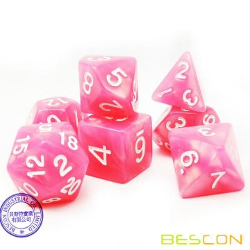 Bescon Moonstone Dice Set Peachy, Bescon Polyhedral RPG Dice Set Efecto Moonstone