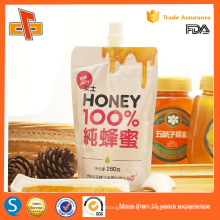 Printed customized standing up pouch with spout for honey 100ml 250ml 500ml