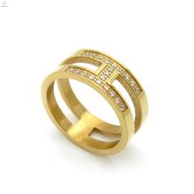 Anel de letra de ouro de banda de dedo Cz Zircon ouro H