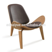 China hizo la silla de madera negra de la forma de la cáscara de la PU con el respaldo