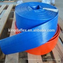Tubo Layflat de distribución de agua PVC amarillo o azul - Irrigación de bomba de manguera de descarga