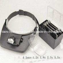 Громкой Руководитель повязка очки лупа шлем лупа Глава лупа с 2 светодиодные фонари и объектив 4