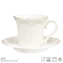 Classic Ceramic Tea Cup and Saucer with Brown Brush