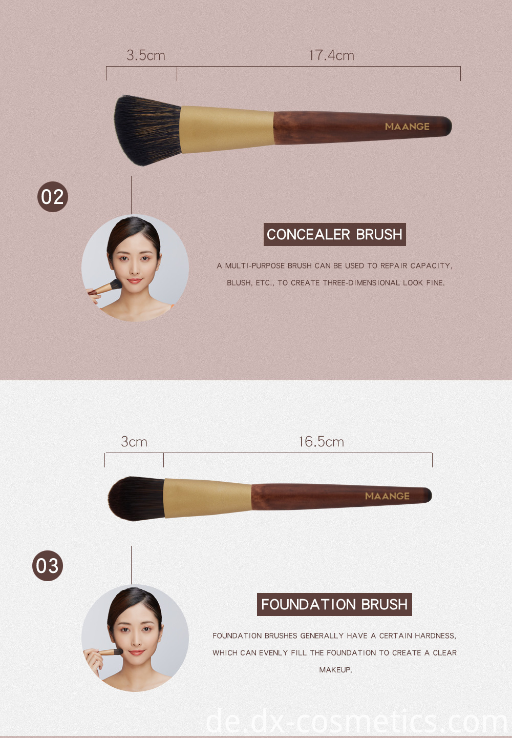 10 Pcs Wood Goat Hair Makeup Brush Sets Details 2