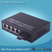 Conversor de mídia 100M Switch de rede de mídia de 4 portas switch de rede alimentado por bateria