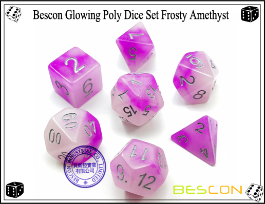 Bescon Glowing Poly Dice Set Frosty Amethyst-1