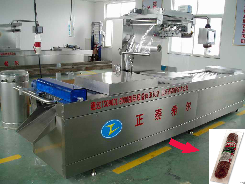 High speed meat continous strech film vacuum packing machine