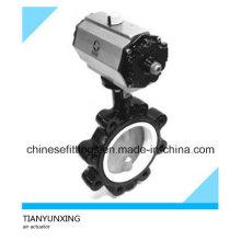 DIN Air Actuator Full Lug Fluorine Lined Pneumatic Butterfly Valve