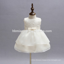 White lace sleeveless baby girls flower party dresses 0-24M toddler infant dress