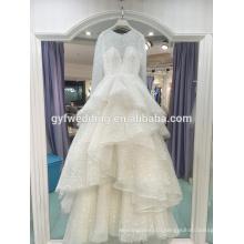 Wedding dress 2017 new court gorgeous long sleeve star models Peng Peng luxury tail wedding custom LJ-20028