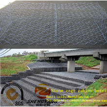 2mx1mx1m reservoir foundation galvanized rock baskets protective wall anti corrosion steel wire woven stone cages gabion boxes