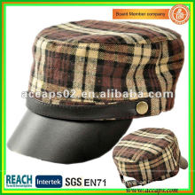 black leather military style cap MC-1287