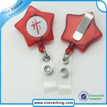 Pvs Strap Star Shape Plastic Badge Reel Promotion Gift