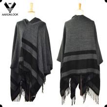 Mantón de manta con franjas de tamaño grande de moda