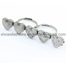 Anel de dedo / dois dedos liga antigo banhado anel / moda jóias (xrg12066)