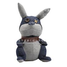 Brinquedos animais macios feitos sob encomenda do brinquedo enchido preto bonito do coelho para o presente relativo à promoção