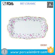 Creative Pefect Gift Roses Bandeja rectangular de cerámica para servir