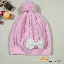 Sombrero hecho punto del bebé de la gorrita tejida con el arco bonito