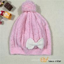 Chapeau de bonnet de mode tricoté avec joli noeud