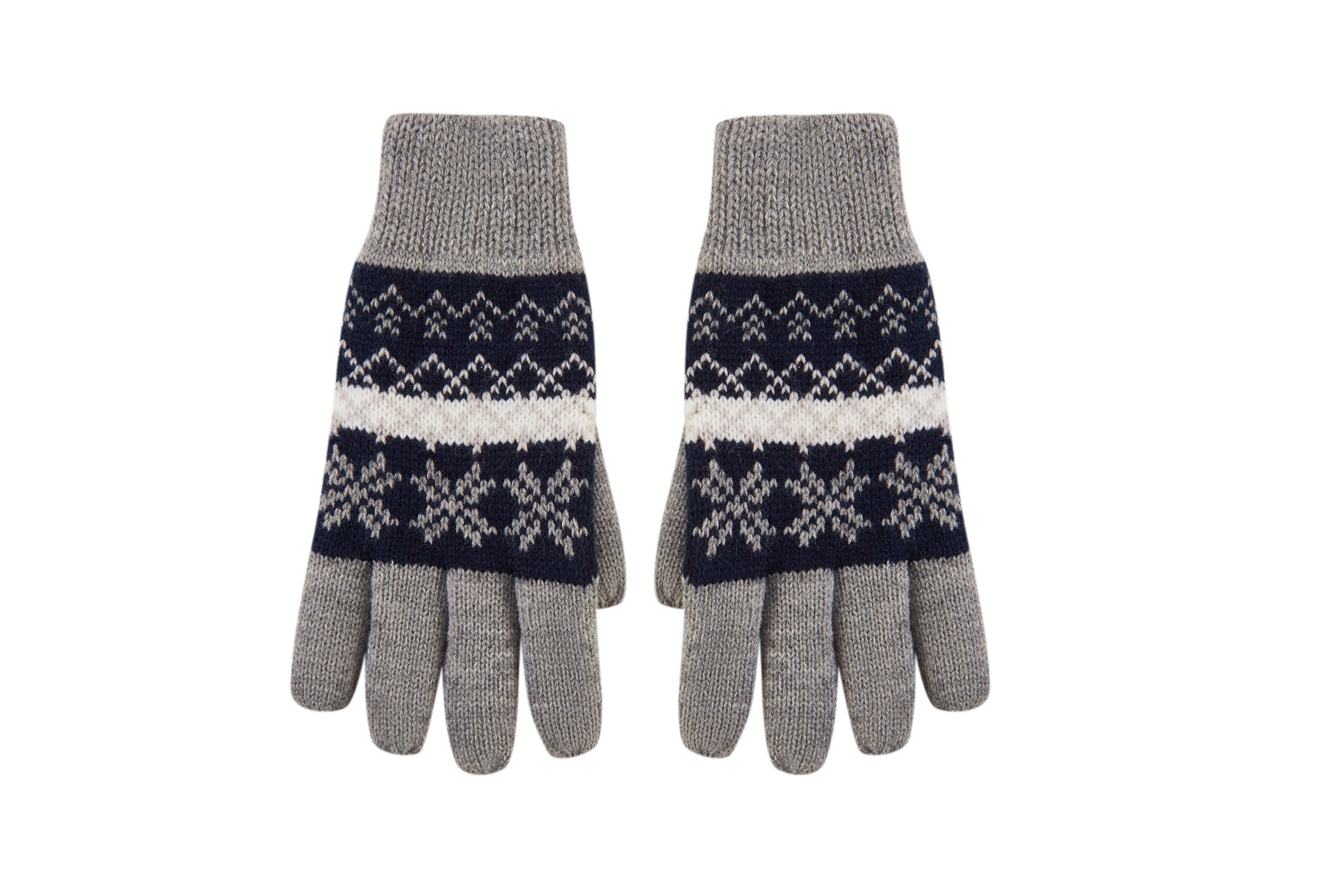 Boy's Snowflake Print Full Fingers Knitted Warm Lining Winter Gloves