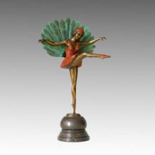 Dancer Statue Peafowl Lady Bronze Sculpture, Michel Pellier TPE-354