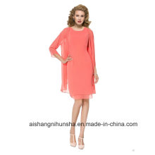 Women Chiffon Plus Size 3/4 Sleeves Evening Dress Prom Dress