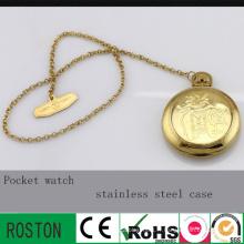 Montre de poche en acier inoxydable or avec 30m