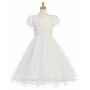 Niños de la boda 2-12 años de niñas de cumpleaños de manga corta de encaje de una línea de niña de flor vestido de los patrones de desgaste del partido de los niños LF07
