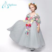 Vestido de bola V cuello flores Tulle princesa estilo flor chica vestidos