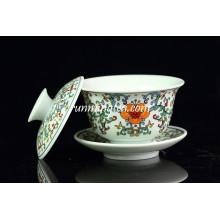 Coupes de thé à la porcelaine Gaiwan Famille Rose