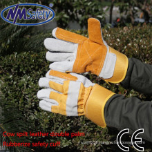 NMSAFETY cow split long cuff leather with double palm work leather glove